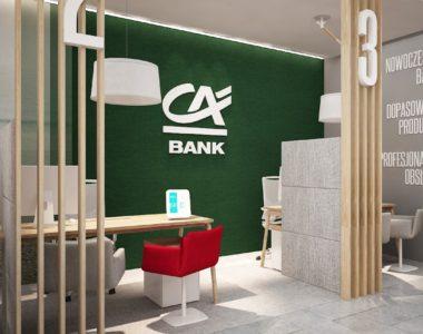 Credit Agricole – koncept sieci placówek banku, projekty wnętrz banków